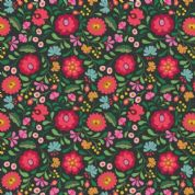 Lewis & Irene - Maya - 6820- Folksy Floral on Black - A387.3 - Cotton Fabric